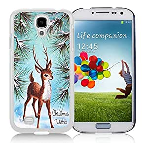 Niche market Phone Case Samsung S4 Protective Skin Cover Christmas Deer White Samsung Galaxy S4 i9500 Case 7