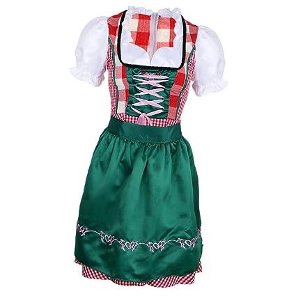 P Prettyia Vestido de Mujeres para Oktoberfest Alemana de Algodón para Celebración Costura Manualidad - S