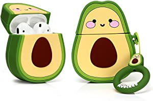 LEWOTE Airpods Silicone Case Funny Cute Cover Compatible for Apple Airpods 1&2[Fruit and Vegetable Series][Best Gift for Girls or Couples] (Avocado Smile)