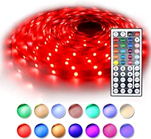 BAILONGJU Led Strip Lights 32.8ft (Continuous 10 Meters/roll), 5050 RGB Color Changing Strip Lights with 44 Keys IR Remote and 12V Power Supply, Led Rope Lighting for Home, Kitchen,Bedroom Decorative