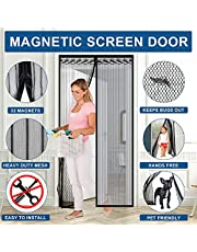 Magnetic Screen Door Heavy Duty Mesh Curtain Self Sealing Mosquito Door Hands Free Screen Doors with Magnets Mesh Curtain Keep Bugs Out Pet and Kid Friendly