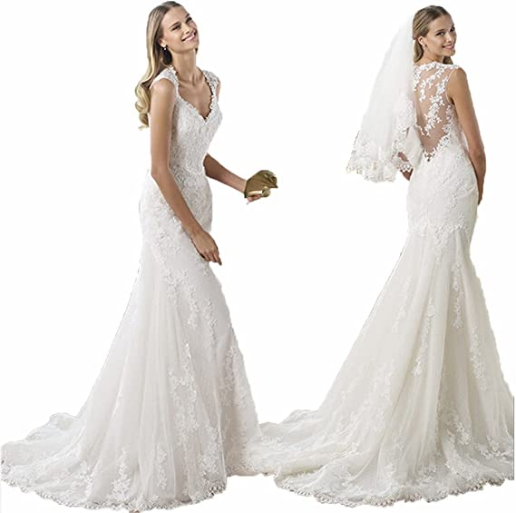 Little Prettydress New Mermaid Lace Applique Long White Bridal Gowns