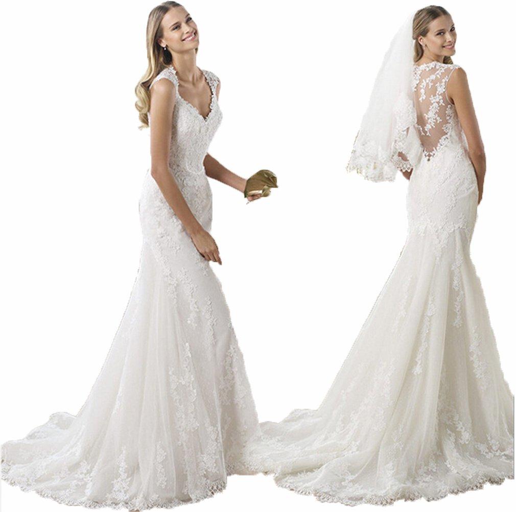 Little Prettydress New Mermaid Lace Applique Long White Bridal Gowns Boho Wedding Dresses Plus Size 4 White