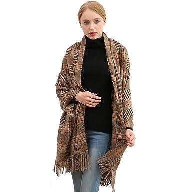 489430b5b47e8 Longwu Women Soft Cashmere Wool Scarf Large Pashminas Shawl and Wrap Warm  Stole Blanket-01