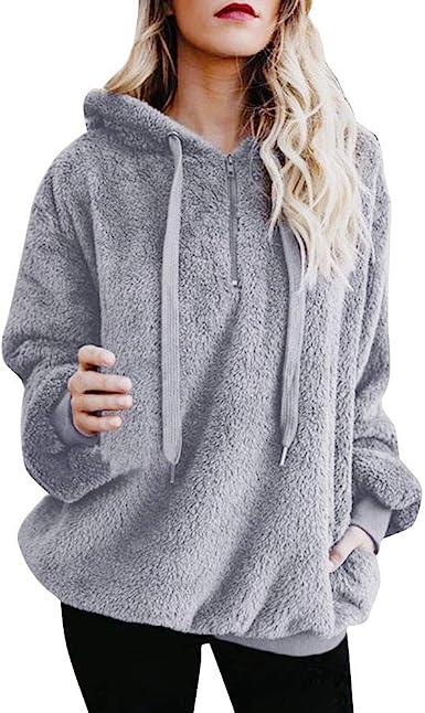 Hooded Pullover Jumper,Women Stand Collar Zip Up Fluffy Top Sweatshirt Ladies