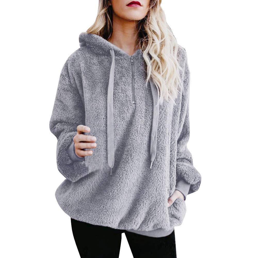 Women's Novelty Hoodies,Womens Tops and Blouses,Women Warm Fluffy Winter Top Hoodie Sweatshirt Ladies Hooded Pullover Jumper,Gray,S