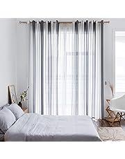 MIULEE Cortinas Translucida de Lino Dormitorio Moderno Ventana Visillos Salon Paneles con Ojales Plateados para Sala Cuarto Dormitorio Comedor Salon Cocina Salón Habitación