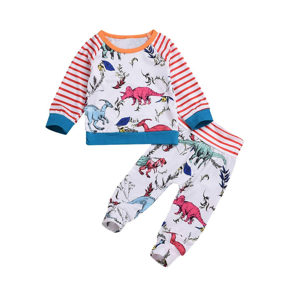 ff9c2941f Amazon.com: 2Piece Toddler Baby Boys Girls Outfit Set, Striped Dinosaur  Print Long Sleeve Top Pants, Pajamas Sleepwear Suit: Clothing