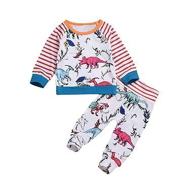 c2347248e4373 Amazon.com: Striped Sleeve Cartoon Dinosaurs T-Shirt Tops+Pants 2Pcs ...