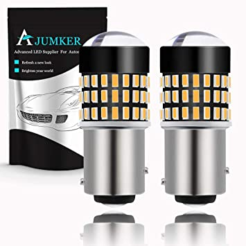 Pack of 2 Turn Signal Blinkers AJUMKER 1157 BAY15D 2057 2357 7528 LED Bulb Amber Extremely Bright 1800LM 3014 78-SMD with Projector Lens,12-24V,Work as Back Up Reverse Lights Brake Tail Lights