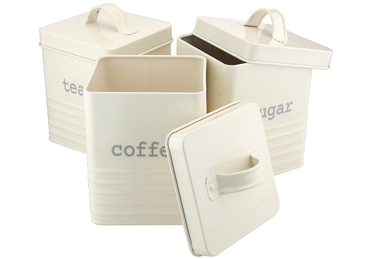 Ehc Set of 3 Square Tea Sugar and Coffee Storage Canister Jars, Cream Elite Housewares