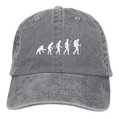 Baseball Cap Evolution Of Man And Hiking - Adjustable Trucker Hat Cotton Denim, DanLive Evolution Of Man And (Evolution Buckle Strap)