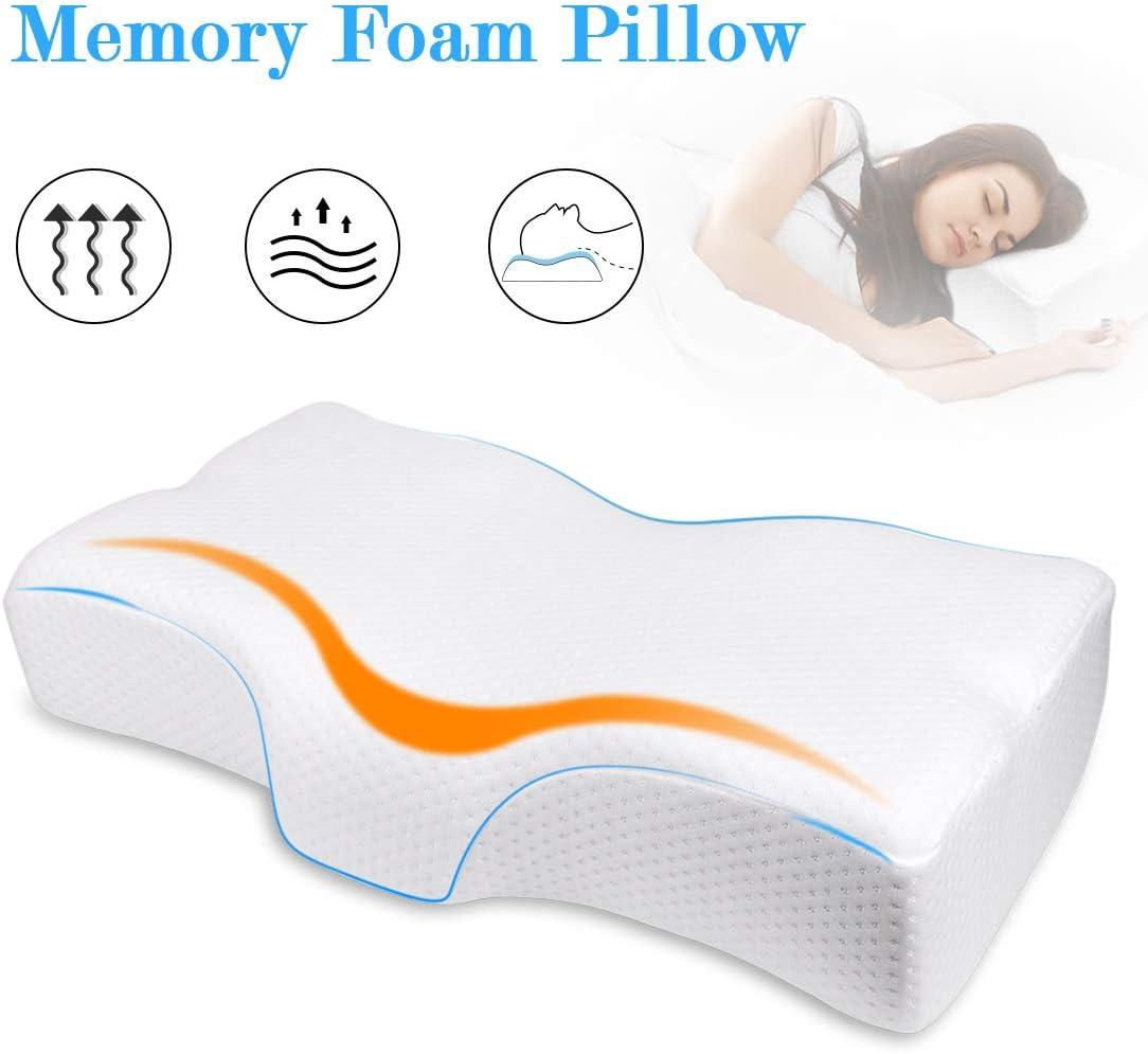 HENGCHONGZO Almohadas antirronquidos para aliviar el Dolor de Cuello, Almohada ergonómica de Apoyo con Funda de Almohada Lavable extraíble para Dormir de Lado/Espalda