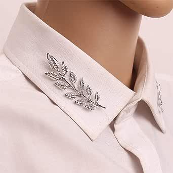 Yienate Broche de plata con forma de hoja para el cuello, para el pecho, para la ropa, regalos para hombres y mujeres (1 par)