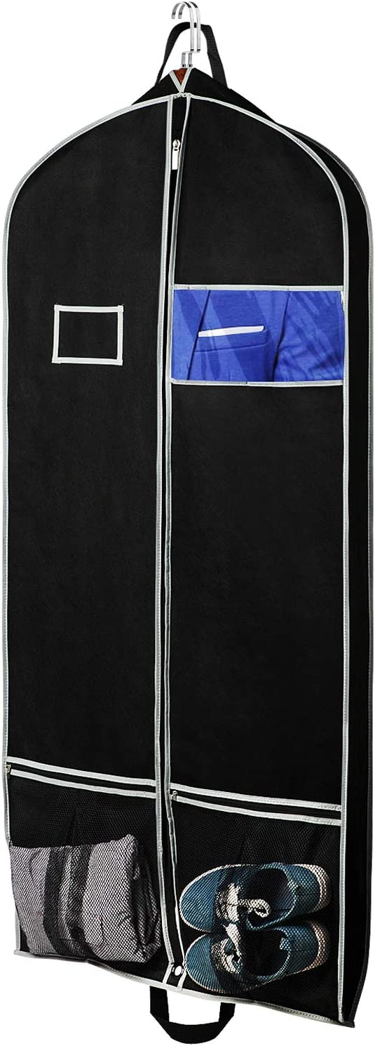 "Zilink Breathable Hanging Garment Bags for Travel 54"" Dress Suit Cover with 2 Large Mesh Pockets and a PVC Card Holder, Black"