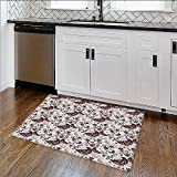 Rug for Home, Office Islamic Arabian Inspiredwith Rounded Modern Ornaments Bathroom High Absorbency W39''xH16''