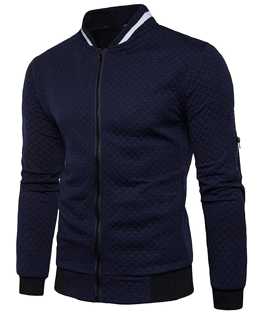 Gocgt Men's Casual Slim Fit Full Zipper Stand Collar Baseball Varsity Jacket