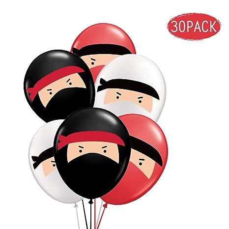 Kreatwow 30 Ballons De Ninja Ballons En Baudruche Rouge Noir Blanc
