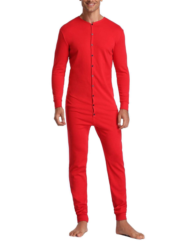 Lusofie Herren Thermo-Unterwäsche Jumpsuit Baumwolle Lange Einteiliger Onesie Unionsanzug DEATYN1001065