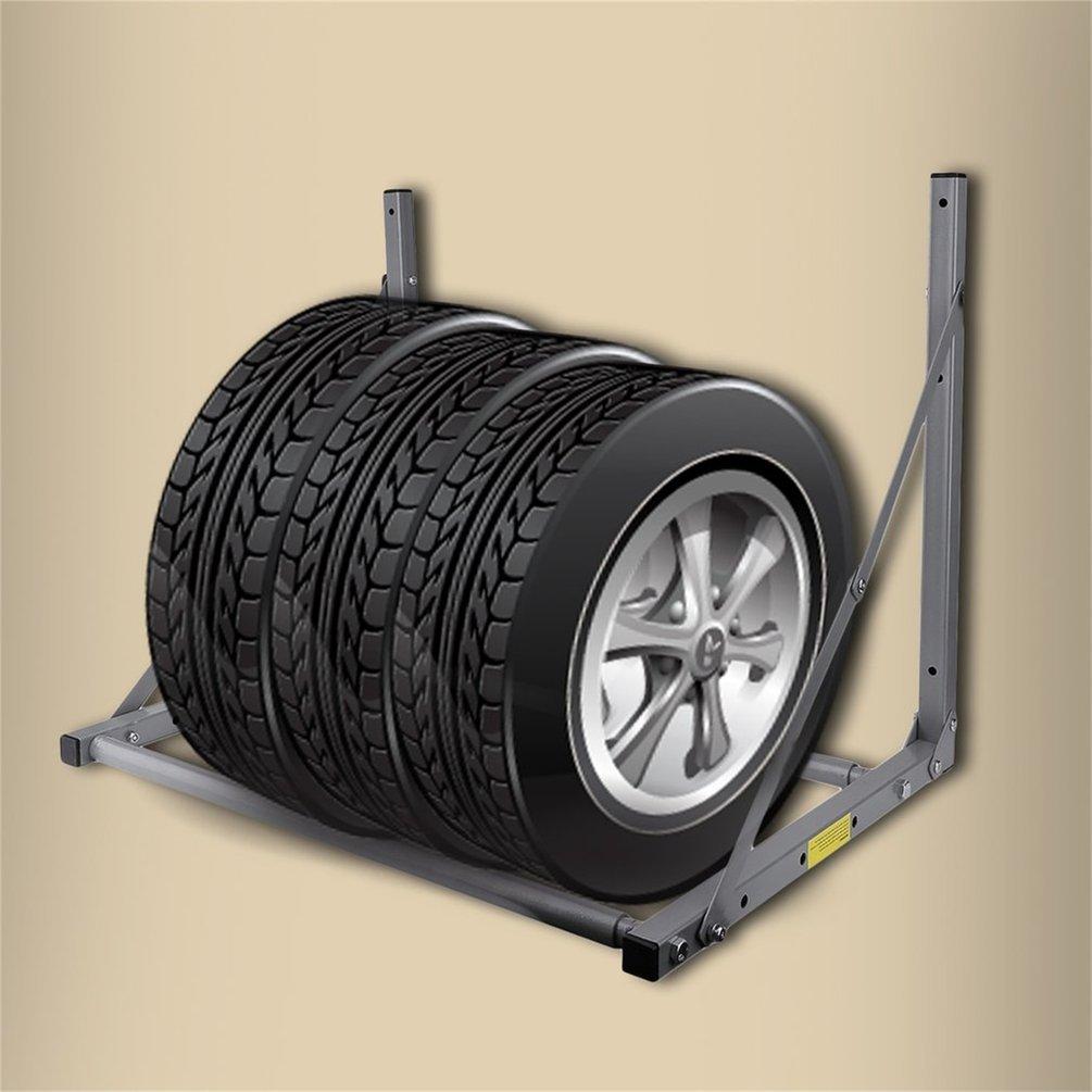 Folding Truck Tyre Wheel Tires Rack Saving Space Storage Garage Wall Mounted Tire Holder Max Weight Capacity 300Lb(Color:Grey) Sairis