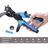 Xubox Leather Hole Punch, Perfect Round Holes Easily, Professional Revolving Punch Plier Kit with 1 Screwdriver, 2 Plates, Heavy Duty Hole Puncher for Belt, Saddle, Watch Strap, Shoe, Fabric and More