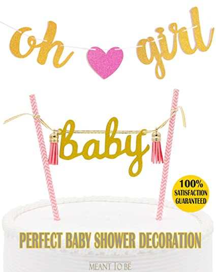 amazon com oh girl banner baby cake topper pink baby girl shower