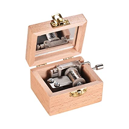 Amazon Muslady Wooden Hand Crank Music Box Classical Melody Birthday Christmas Festival Musical Gifts Home Office Decoration Crafts