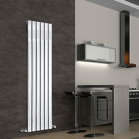 Hudson Reed DRC004 - Radiador Calentador Decorativo Ultra Plano Diseño Vertical - Acero - Acabado Cromado - 1600mm x 450mm - 463 Vatios - Calefacción ...