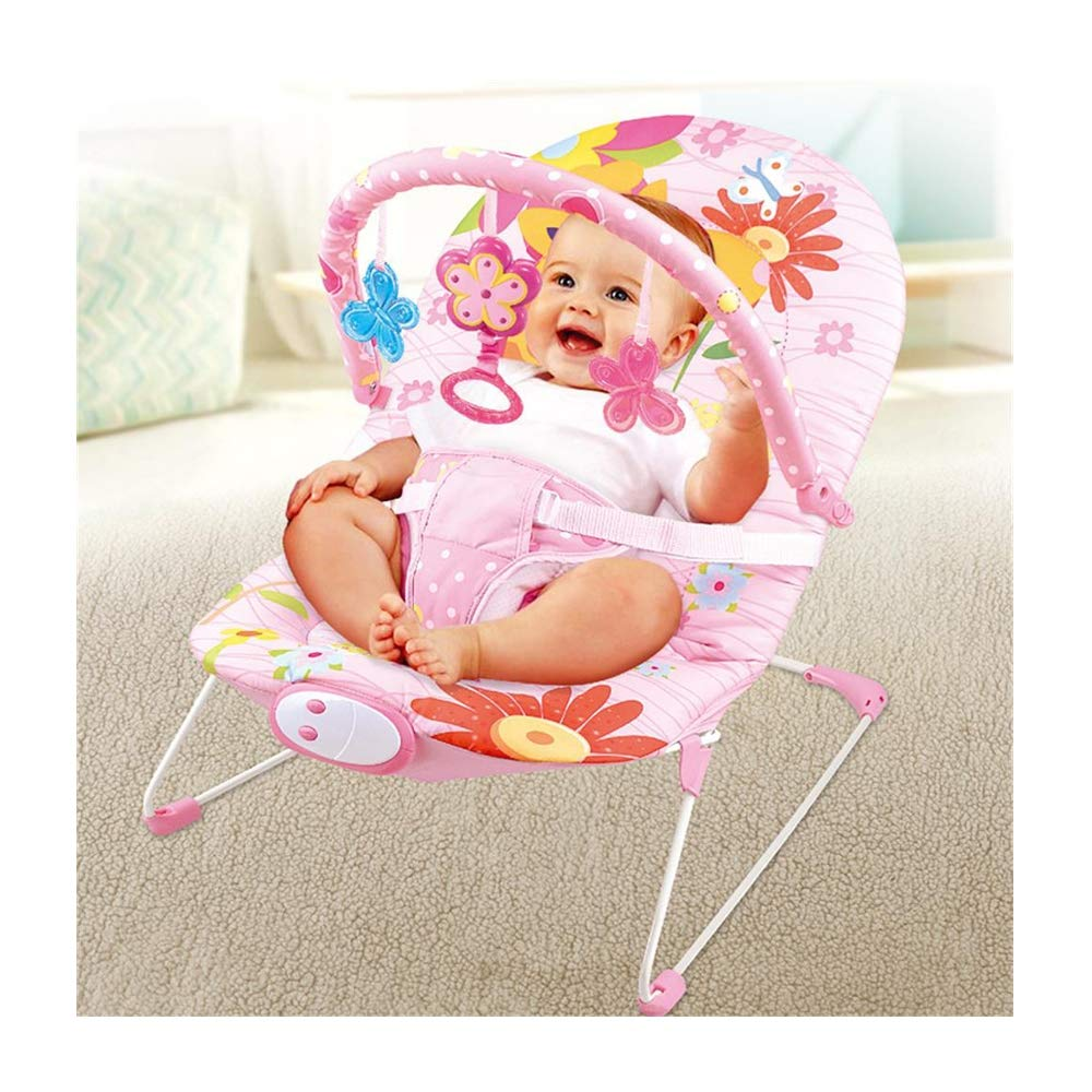 JFMBJS Bouncer with Music Soothing Vibration, Newborn Baby Rocke Chair with Removable Toy Bars for 1-3 Year Old by JFMBJS