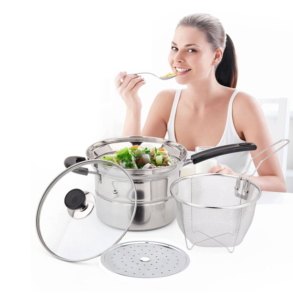 4-piece Pasta Pot Set,Sauran Stainless Steel Durable Sauce Pot with Steamer and Strainer Insert,Multi-purpose Pots with Double-bottom by Sauran (Image #7)