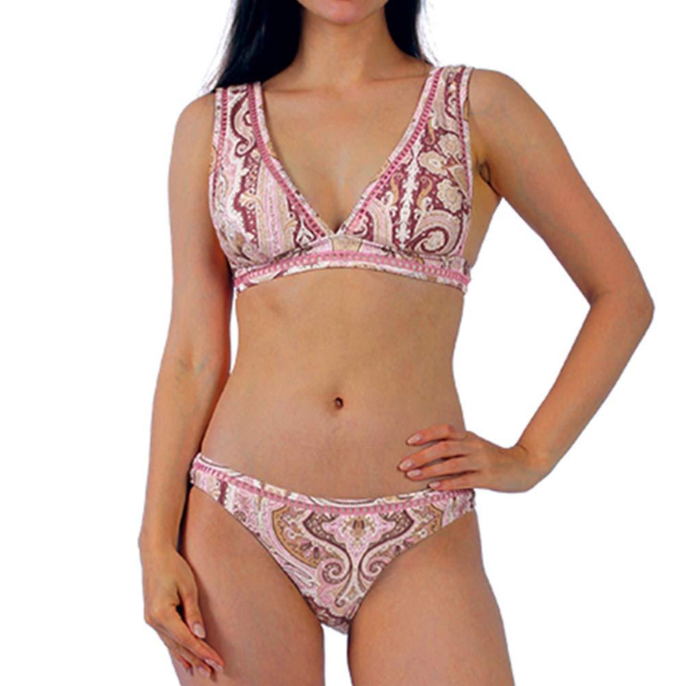 PUREMSX Women's Summer Padded Bikini Set Two Piece Printed Swimsuit Crop Top for Girl