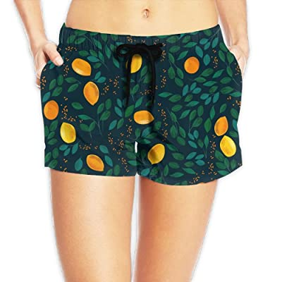 CHUNGCINVI Orange Fruits With Leaves Women's Popular Drawstring Waist Shorts Quick Dry Swim Trunks