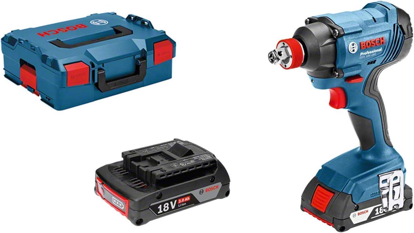 Bosch Professional GDX 18V-180 Llave de impacto, 2 baterías x 2.0 Ah, 180 Nm, tornillos hasta M14, en L-BOXX, 36 W, 18 V, Color:, Size, Set de 3 Piezas