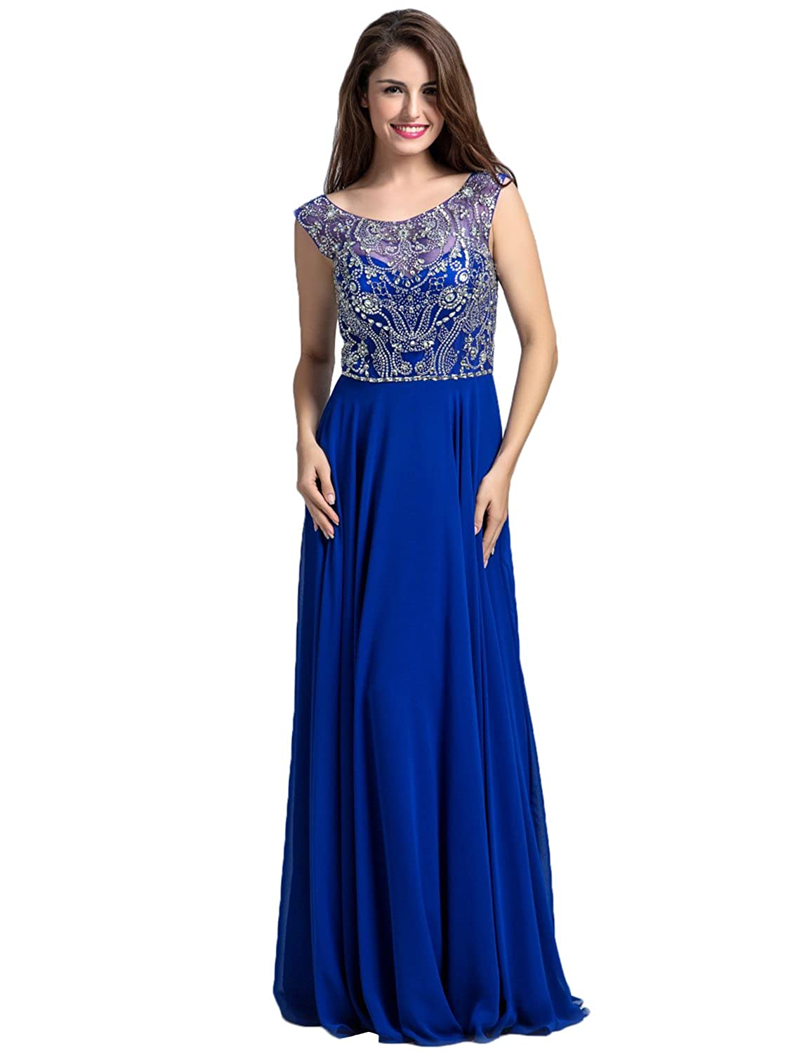 Clearbridal Women's Royal Blue Chiffon Prom Dress Long Round Neck Evening Gown with Crystal LX087