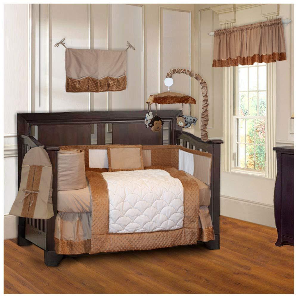 B00NCBECT4 BabyFad Minky Brown 10 Piece Baby Crib Bedding Set 61gwmnxzjzL._SL1000_
