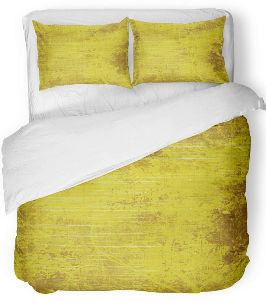 Emvency 3 Piece Duvet Cover Set Breathable Brushed Microfiber Fabric Colorful Aged Grunge Mustard Yellow Wood and Paint Abstract Orange Blank Bright Bedding Set with 2 Pillow Covers Full/Queen Size