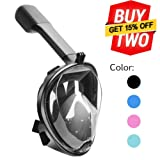 180°view Panoramic full face Snorkel Mask,with anti-fog anti-leak snorkeling Design,Panoramic view Snorkeling Mask For Adults And Kids, See More water world Larger Viewing Area