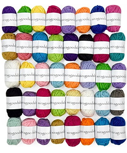 Miragoodsbasics Basic 40 Assorted Colors Acrylic Yarn Skeins with 3 E-Books