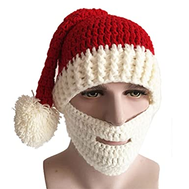 fea29f26e18 Funoc Christmas Hat Winter Handmade Knitted Crochet Beanie Santa Claus Hat  with Beard Foldaway Beard Caps Red White  Amazon.co.uk  Clothing