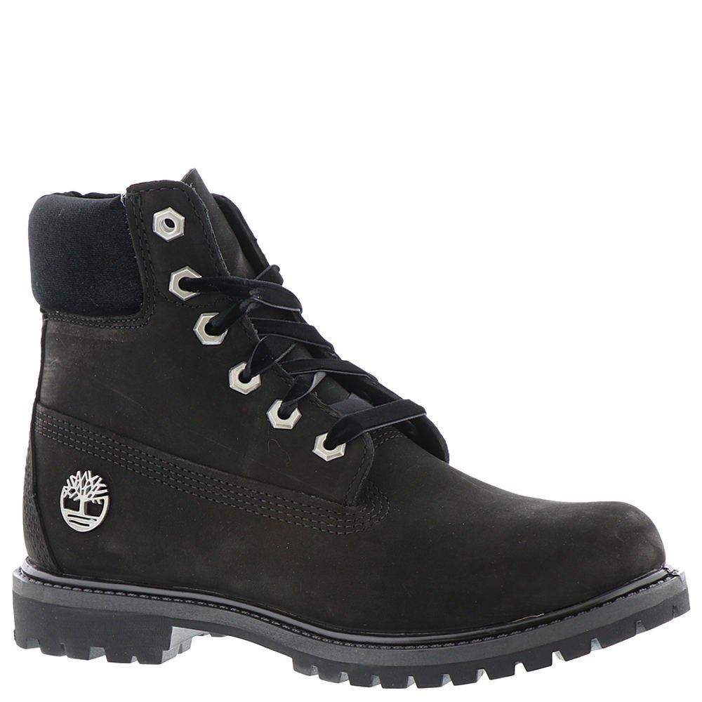 Timberland Women's 6'' Premium Leather and Fabric Waterproof Boot Black Nubuck/Velvet Collar 11 B US