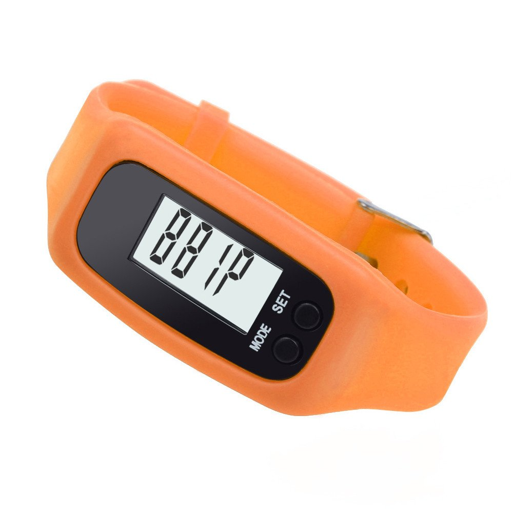 Start Digital LCD Light Portable Waterproof Pedometer Multifunction for Run Step Walking Distance Calorie Counter (Orange)