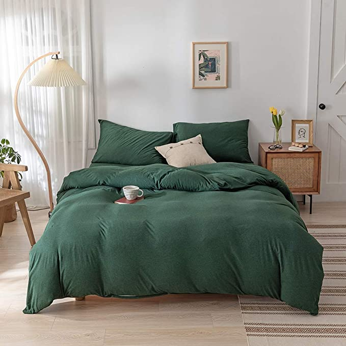 Doneus Green Duvet Cover Queen Jersey Knit Cotton Duvet Cover Set 3 Pieces Ultra Soft Solid Pattern Bedding Set 1 Duvet Cover And 2 Pillow Shams Easy Care And Super Soft Duvet Cover Set Kitchen Dining