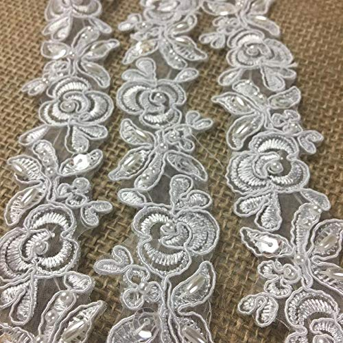 - Bridal Lace Trim Embroidered Hand Beaded Corded Sequined Organza Beautiful Rose Floral, 1.25