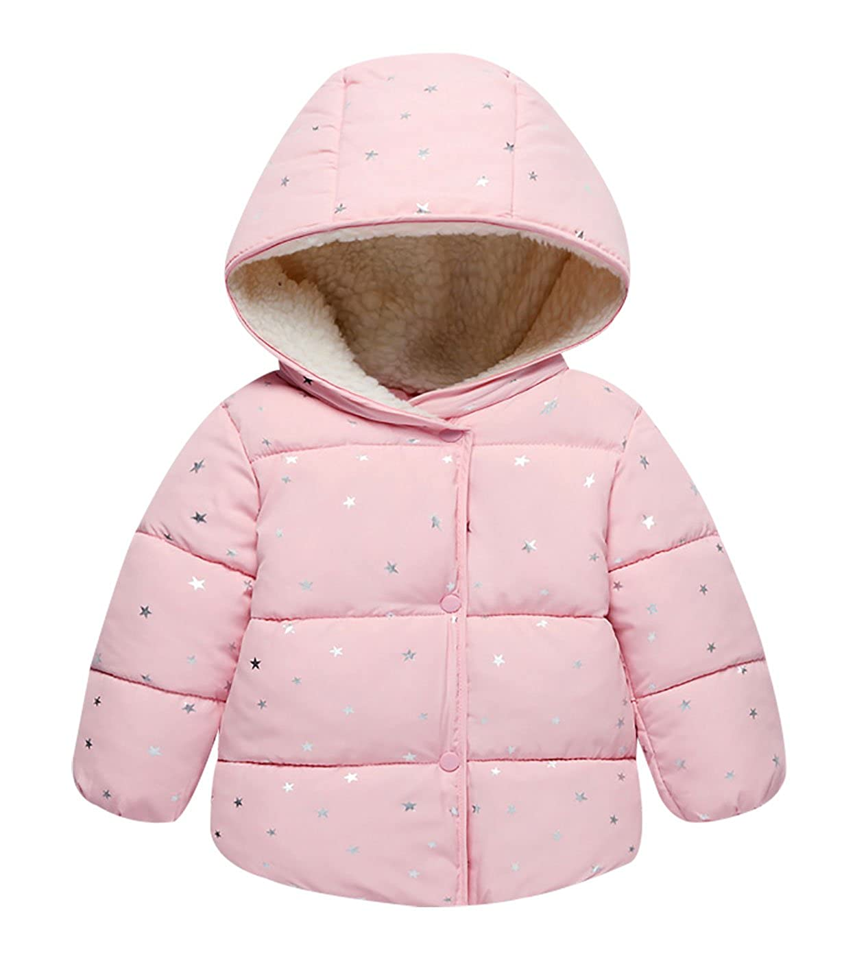 Happy Cherry Kids Cotton-Padded Jacket Coat Baby Star Outwear Hoodie Down Jacket