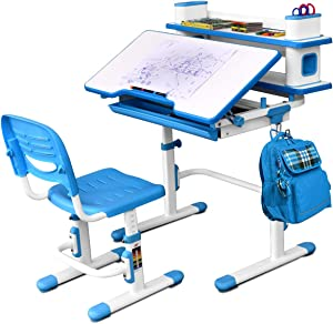 Baby Joy Kids Desk and Chair Set, Height Adjustable, Student Study Table with Storage Drawer, Bookshelf and Tilted Desktop, Children Writing Table for Studying, Reading and Drawing (Blue)