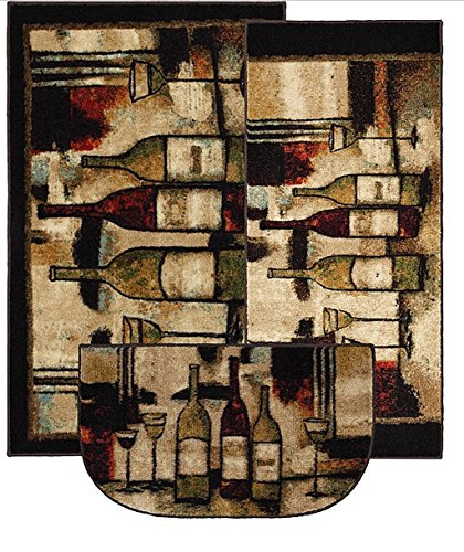 3-Pieces Rectangle Stain Resistant Nylon Graphic Machine-Made New Wave Wine And Glasses Brown Area Rugs Set (Set Contains 20x45, 30x46 and 18x30 Slice) ()