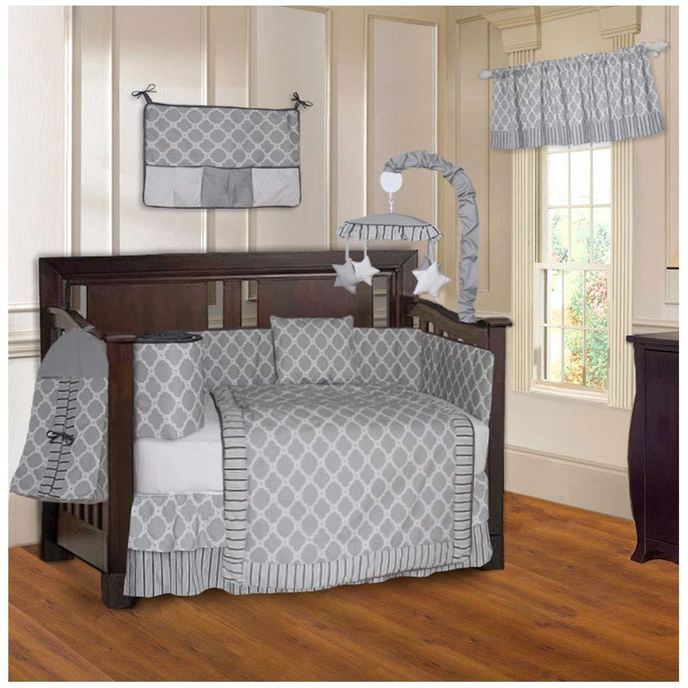 BabyFad Clover Gray 10 Piece Baby Crib Bedding Set