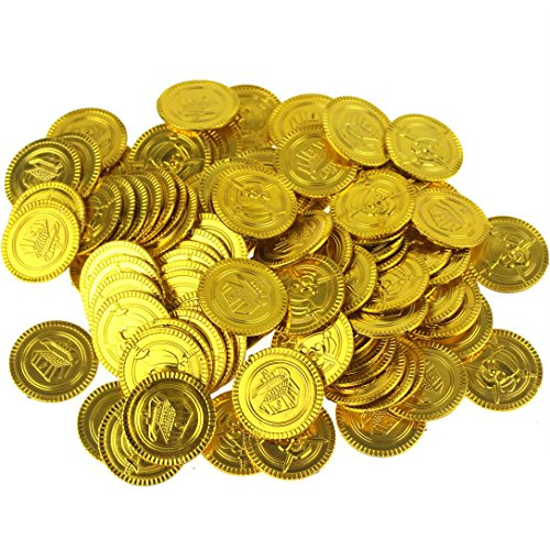 Wankko 100PCS Pirate Gold Coins Plastic Play Gold Treasure Coins for Play Favor Party Supplies]()