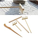 Elegant Lychee Mini Bamboo Zen Garden Tool Rake Sand Rock Push Drawing Pen Set  Desktop Decor Accessories