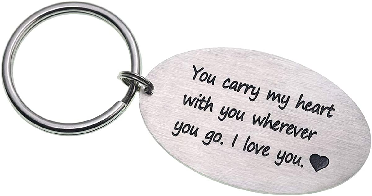 Melix Home Long Distance Relationships Gifts Stainless Steel Keychain You Carry My Heart with You Wherever You Go I Love You Gifts for Boyfriend Girlfriend Couples Jewelry